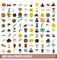 100 halloween icons set flat style vector image