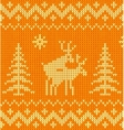 Joking orange knitted ornament with deers vector image