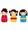 Beautiful Kokeshi dolls set isolated on white vector image vector image