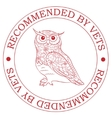 Stamp recommended by vets with owl vector image