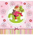 baby girl with bear on horse vector image