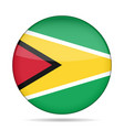 flag of guyana shiny round button vector image