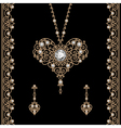 Gold jewelry set on black vector image