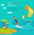 kitesurfing festival banner style of kiteboarding vector image