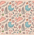 seamless pattern with birds and flowers on beige vector image