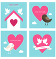 Set of St Valentines day greeting cards in flat vector image