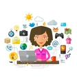 The young woman at the computer on the Internet vector image