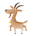 Cartoon cute goat with gold bell vector image