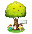 Three kids under the tree with an empty signboard vector image