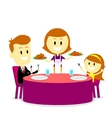 Mom Serving Meals for Family Dinner vector image