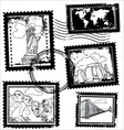 world landmarks stamps vector image vector image