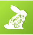 Rabbit and greeting inscription vector image