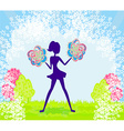 Abstract cheerleader girl poster vector image