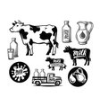 black milk cow symbol vector image