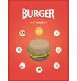 Burger fast foods set polygon style vector image