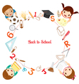 Children And School Supplies Icons On Circle Frame vector image