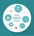 flat icons chef hat omelette kitchen measurement vector image