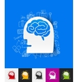 head paper sticker with hand drawn elements vector image