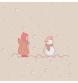 kids children play with snow man winter vector image
