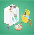 isometric people washing clothes laundry service vector image