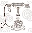 Old vintage telephone - retro vector image