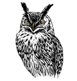 Owl hand drawn black and white isolated vector image