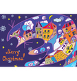 Christmas greeting card with town and cat vector image