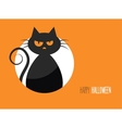 Halloween card with a silhouette of an evil cat in vector image