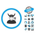 Horned Ancient Warrior Flat Icon with Bonus vector image