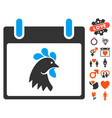 rooster head calendar day icon with valentine vector image