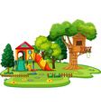 Scene of park with treehouse and slides vector image