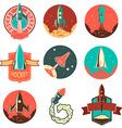 Set of the rocket labels vector image
