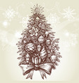 vintage style christmas tree vector image