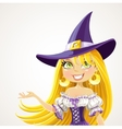 Witch shows hand aside explaining vector image vector image