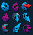 multimedia signs collection isolated on black vector image vector image