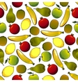 Fruits seamless pattern isolated on white vector image