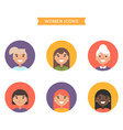 Icons of diverse smiling women Bright colored flat vector image