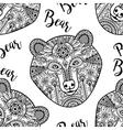 Black doodle bear face seamless pattern vector image
