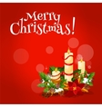Christmas candle floral arrangement greeting card vector image
