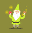 Cute smiling dwarf standing and holding mushrooms vector image