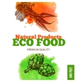 Eco food menu background Watercolor and hand vector image