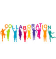 men and women colorful silhouettes holding word vector image