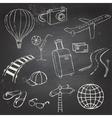 Icons travel on blackboard vector image