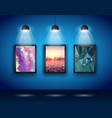 Spotlights Wall with Low Poly Arts vector image