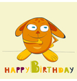 birthday card with happy rabbit vector image vector image
