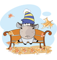 little cow and falling leaves Cartoon vector image