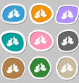 boxing gloves symbols Multicolored paper stickers vector image