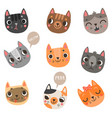 9 cute cats vector image