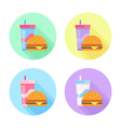 Flat icons set with tasty hamburger and soda drink vector image