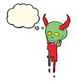 cartoon spooky halloween skull with thought bubble vector image